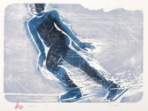 HOLLY MEADE Skater, 9/11 woodblock print, 14 x 20 inches $900