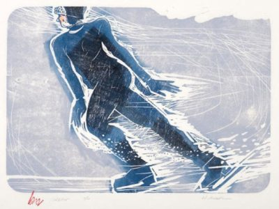 HOLLY MEADE Skater, 9/11, woodblock print, 14 x 20 inches