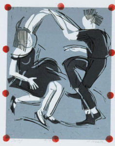 HOLLY MEADE Swing, edition of 9 woodblock print, 11 x 9 inches $1000