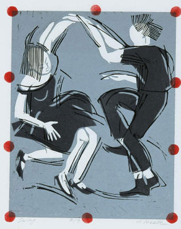 HOLLY MEADE Swing, 5/9, woodblock print, 11 x 9 inches