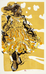 HOLLY MEADE The Dress woodblock print, 37 x 23 inches $1800