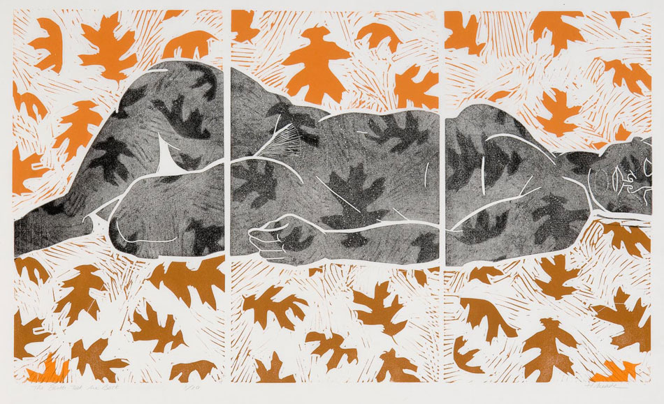 HOLLY MEADE The Earth Took Me Back, 3/10, woodblock print, 21 x 36 inches
