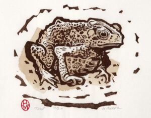HOLLY MEADE Toad woodblock print, 10 x 12 inches edition of 11 $350