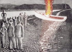JOHN NEVILLE Boat Burning, Adcovate Bay, etching, 18 x 24 inches