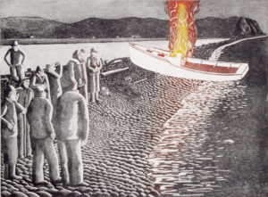 JOHN NEVILLE Boat Burning, Adcovate Bay etching, 18 x 24 inches $2000