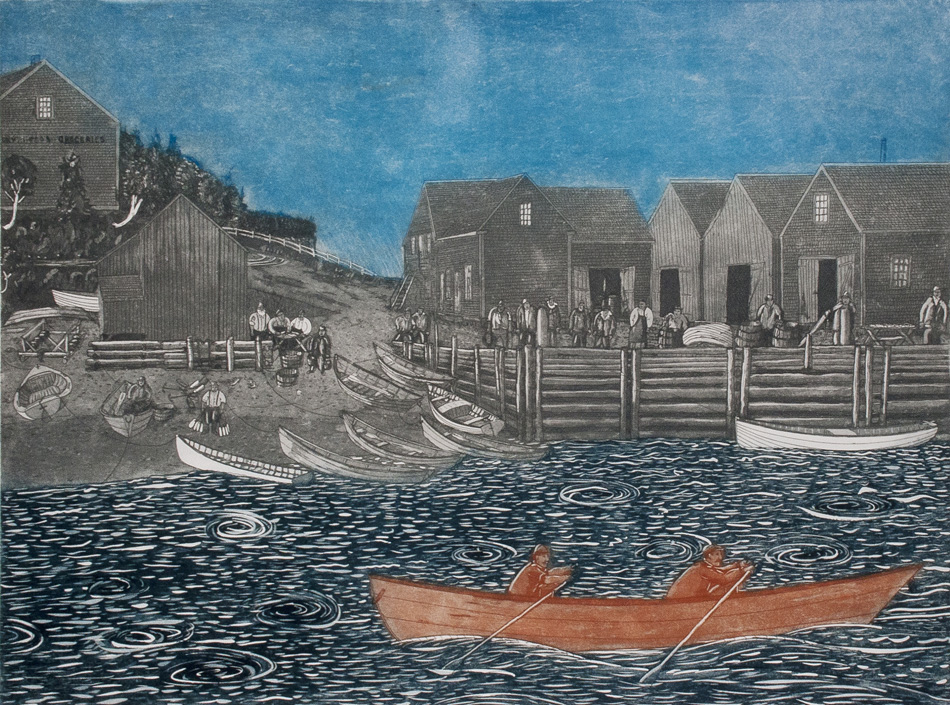 JOHN NEVILLE Andrew and Albert Rowing Against a Tidal Surge, etching, 18 x 24 inches