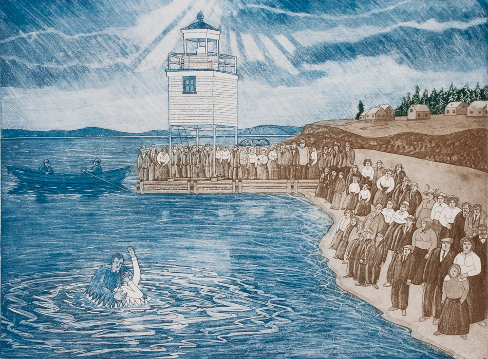 JOHN NEVILLE Baptism (Jesus, it's cold), etching, 18 x 24 inches