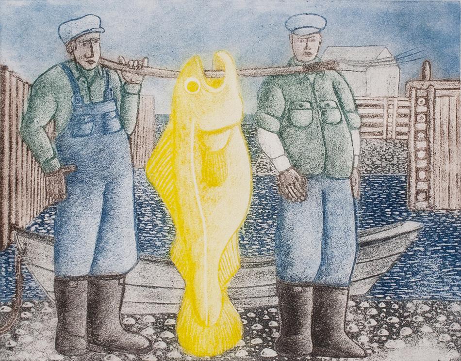 JOHN NEVILLE Big Fish, etching, 16 x 20 inches