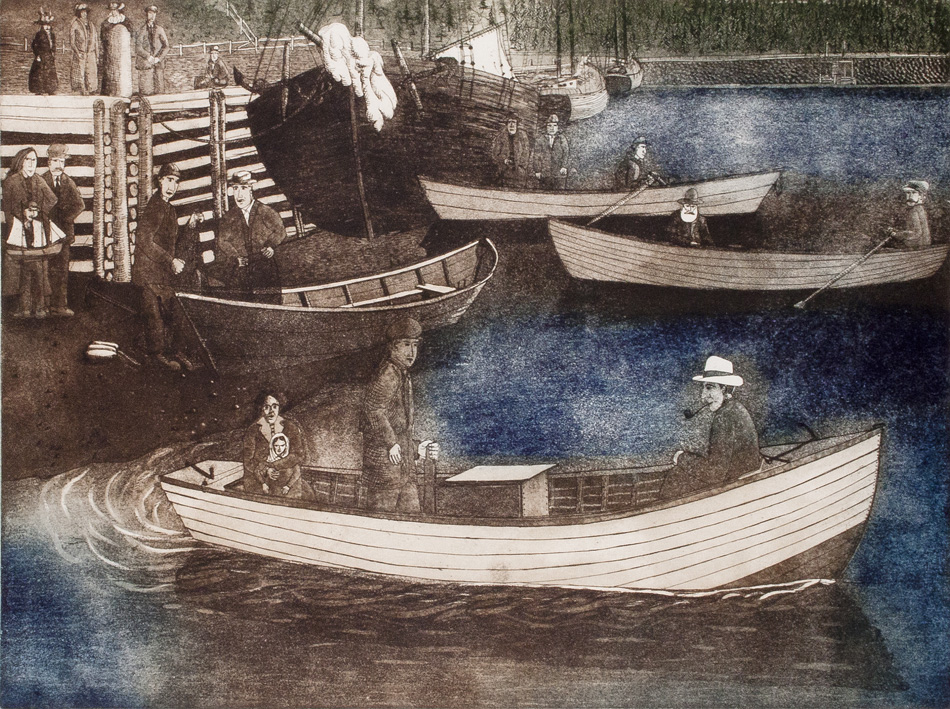 JOHN NEVILLE First Motorized Boat, etching, 18 x 24 inches