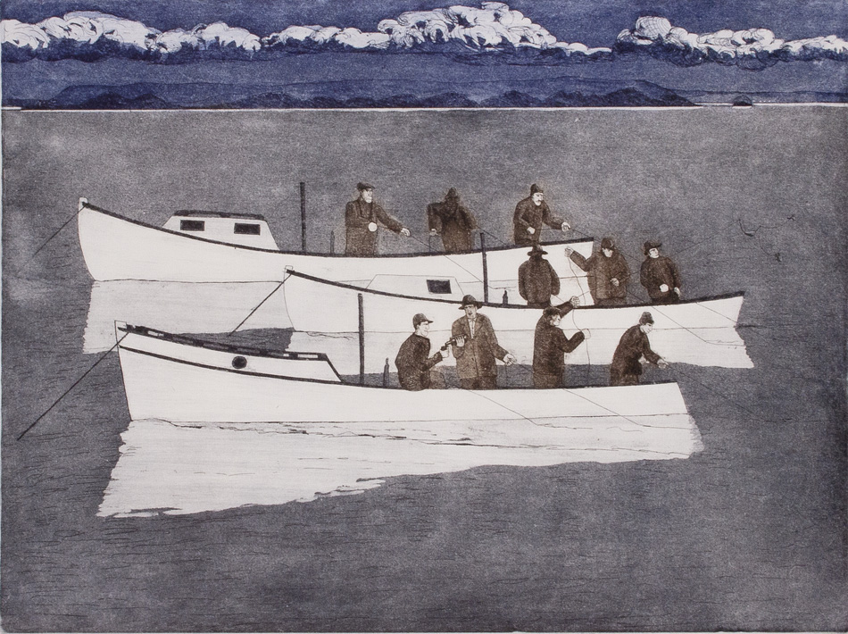 JOHN NEVILLE Fishing Party, etching, 18 x 24 inches