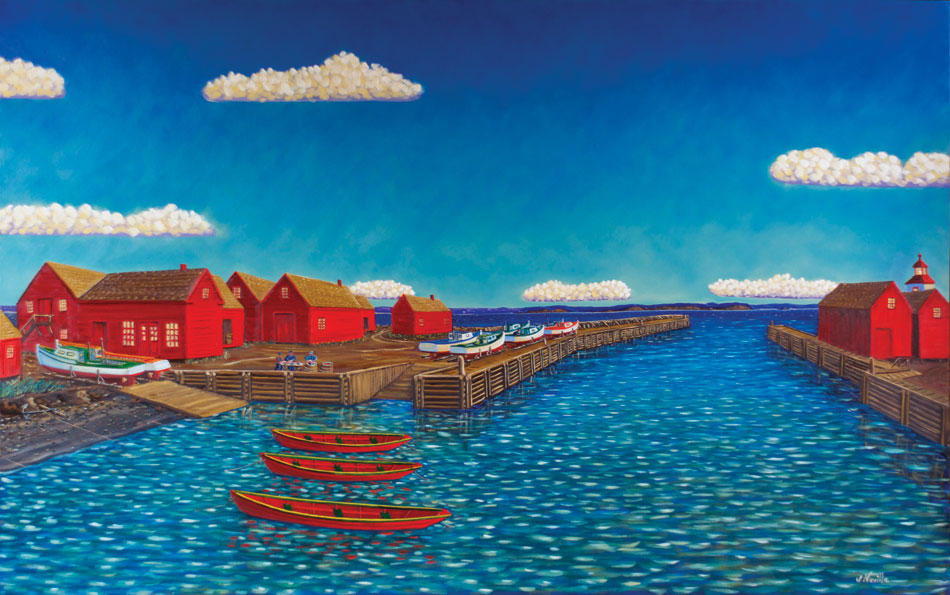 JOHN NEVILLE Fishing Village c. 1950, oil on canvas, 38 x 60 inches