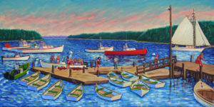 JOHN NEVILLE Girls' Picnic, Friendship, Maine oil on canvas, 15 x 30 inches $3800