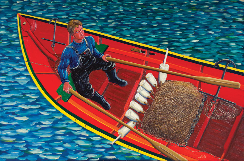 JOHN NEVILLE Going to Set a Net, oil on canvas, 24 x 36 inches