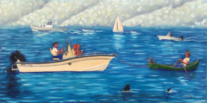 JOHN NEVILLE Great White oil on canvas, 15 x 30 inches $3800