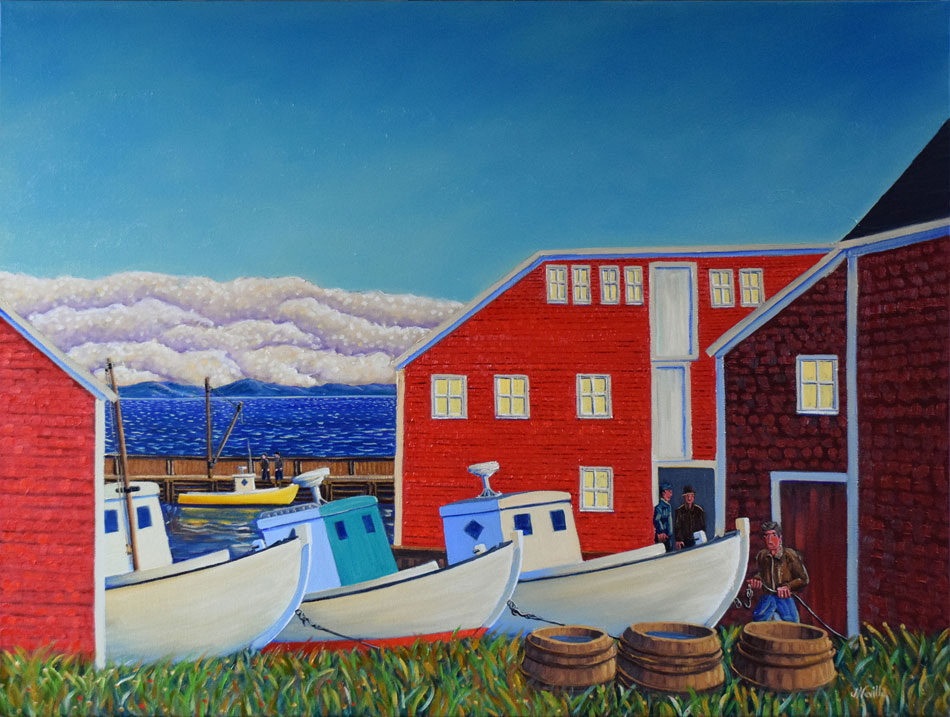 JOHN NEVILLE Haulout, oil on canvas, 30 x 40 inches
