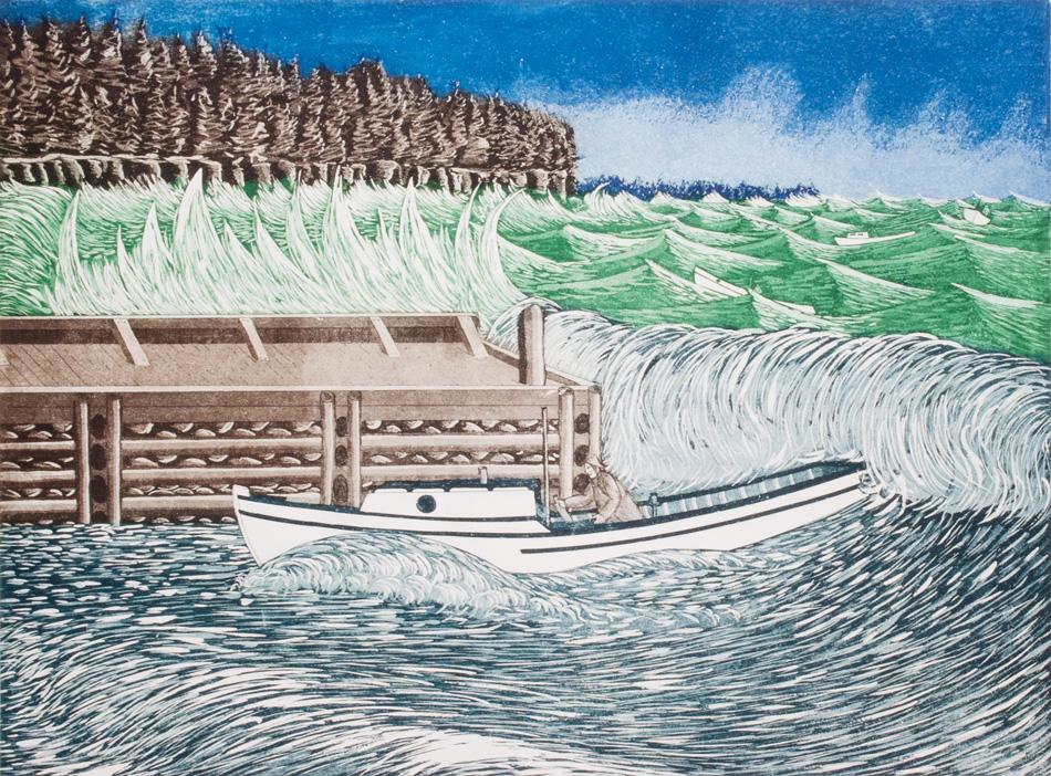 JOHN NEVILLE Hurricane Edna, etching, 18 x 24 inches