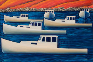 JOHN NEVILLE Lobster Boats, South Bristol oil on canvas, 24 x 36 inches $5500