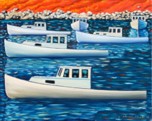 JOHN NEVILLE Lobster Boats, Study oil on canvas, 16 x 20 inches $2800