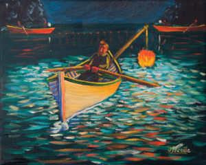 JOHN NEVILLE Night Fishing oil on canvas, 11 x 14 inches $1500