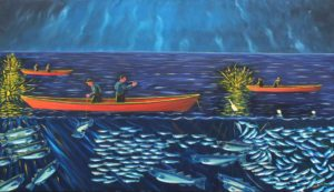 JOHN NEVILLE Night Fishing oil on canvas, 36 x 60 inches $10500