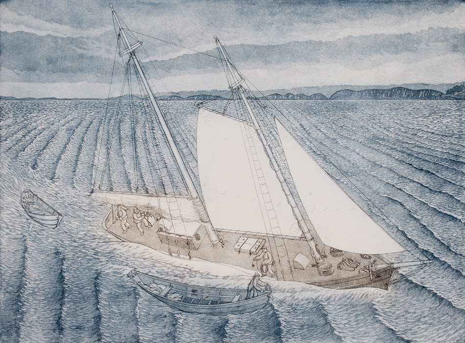 JOHN NEVILLE Picking Up the Dories, etching, 18 x 24 inches