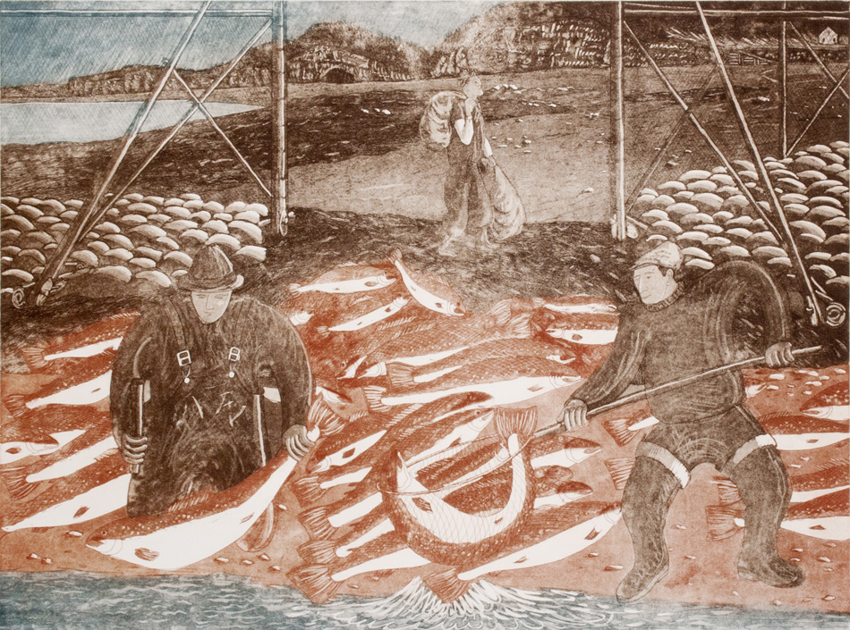 JOHN NEVILLE Salmon Fishing, etching, 18 x 24 inches