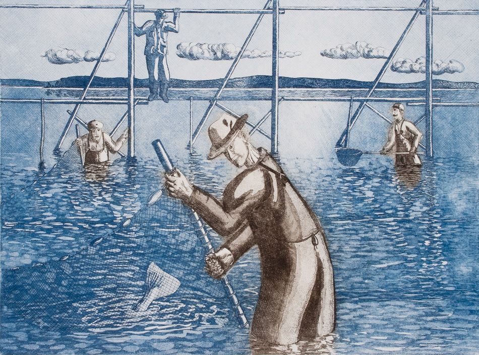 JOHN NEVILLE Sweeping a Fish Weir, etching, 18 x 24 inches