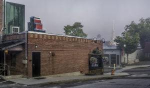 HEATH PALEY Downtown Fog dye-sublimation on aluminum, 47.5 x 80.8 inches