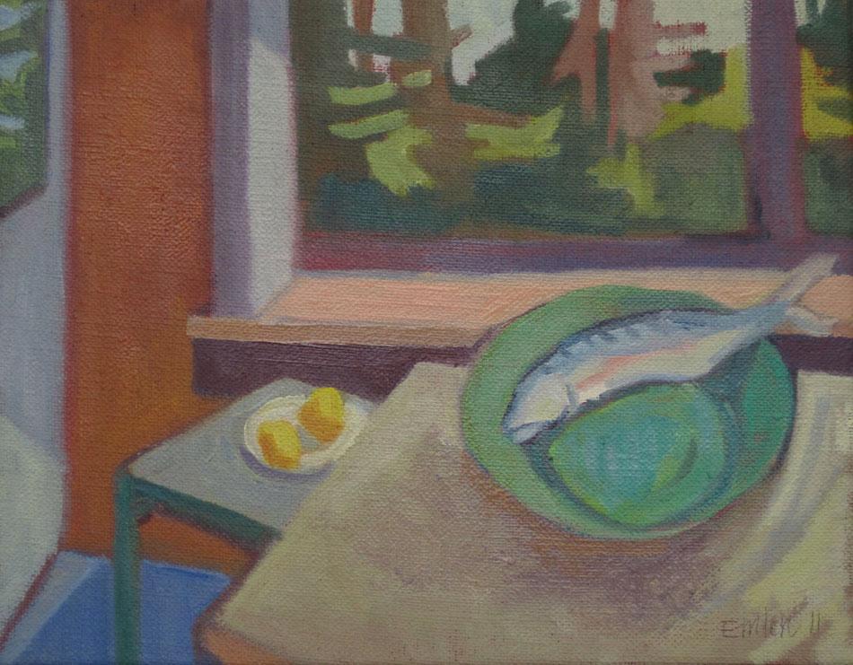 KATE EMLEN Mackerel and Two Lemons, oil on linen, 7 x 9 inches