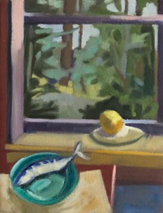 KATE EMLEN Mackerel and One Lemon, oil on linen, 7 x 9 inches