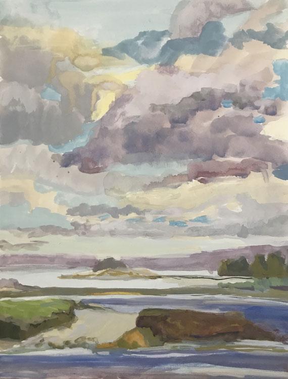 Kate Emlen, Mid-tide Beach, gouache, 12 x 9 inches