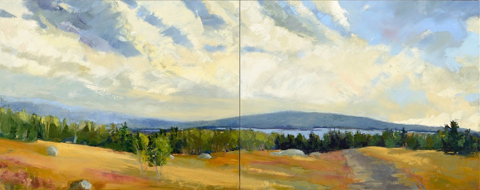 KATE EMLEN Secreted, diptych, oil on panel, 40 x 100 inches