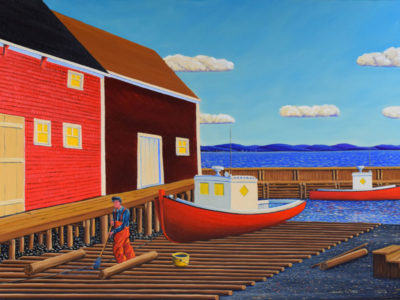 JOHN NEVILLE Greasing the Skids, East Ironbound, oil on canvas, 38 x 60 inches