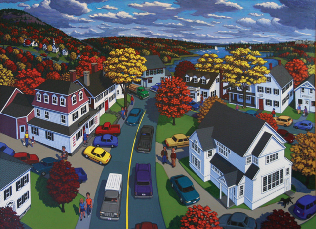 ROBERT SHILLADY Union Street, Blue Hill acrylic on canvas, 40 x 54 inches