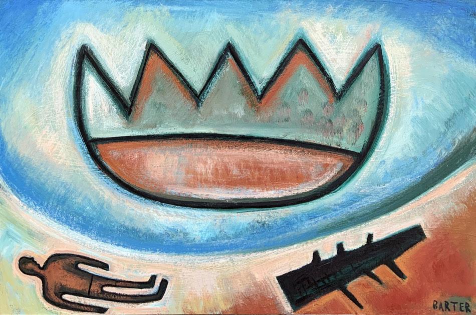 Matt Barter, Sunbathing, oil on canvas, 24 x 30 inches