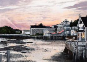 MILLNER Low Tide at Stonington Harbor, oil on wrapped canvas, 18 x 24 inches