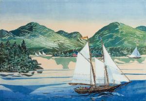 SUSAN AMONS Schooner, White Sails monoprint, 18 x 26 inches $1000