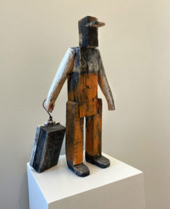MATT BARTER Sternman with Bait Box reclaimed barn beam, paint, 19 x 4 x 12 inches $1800