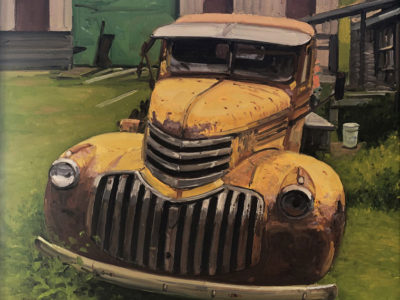 KEVIN BEERS Cape Porpoise Truck, oil on canvas, 20 x 20