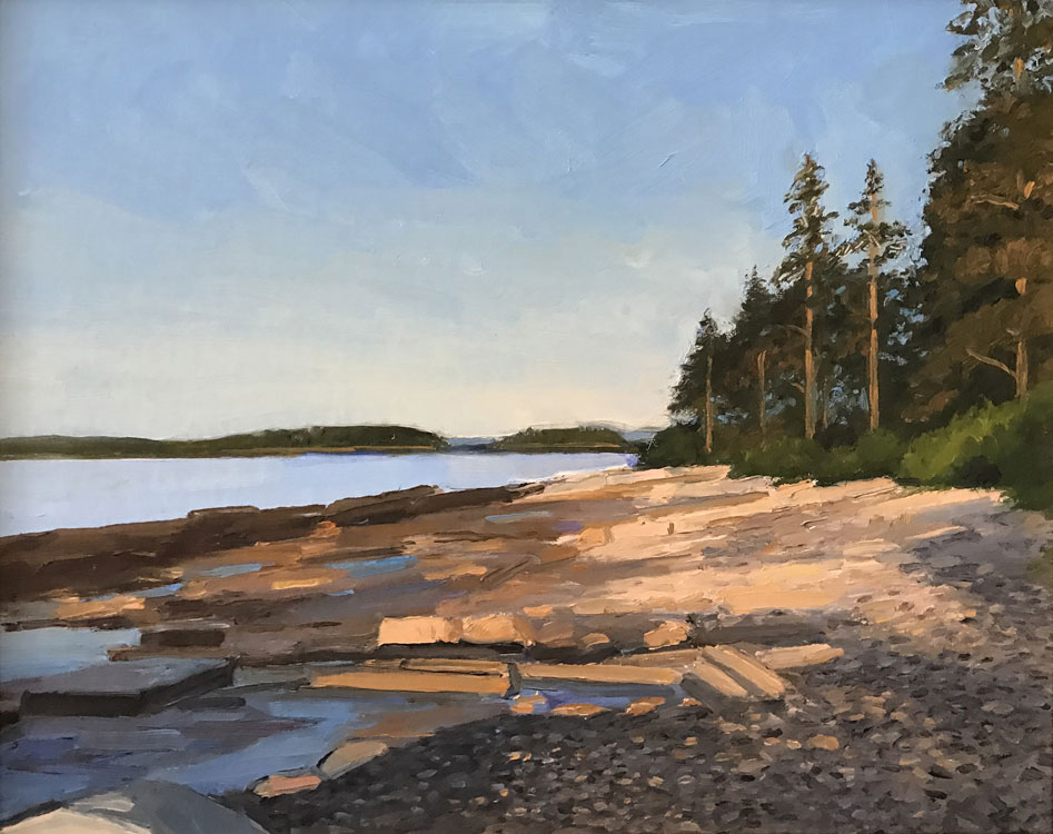 KEVIN BEERS Grindstone Neck, Winter Harbor, oil on canvas, 11 x 14