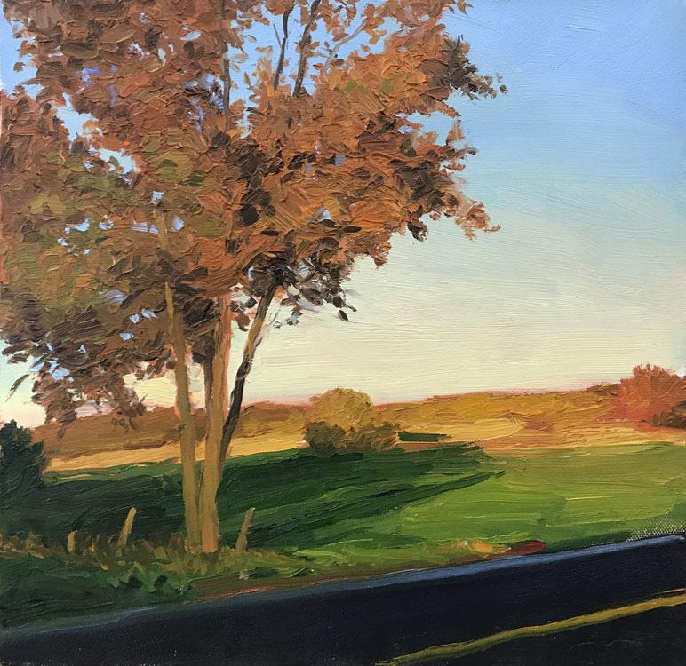 KEVIN BEERS Orange Tree, oil on canvas, 12 x 12