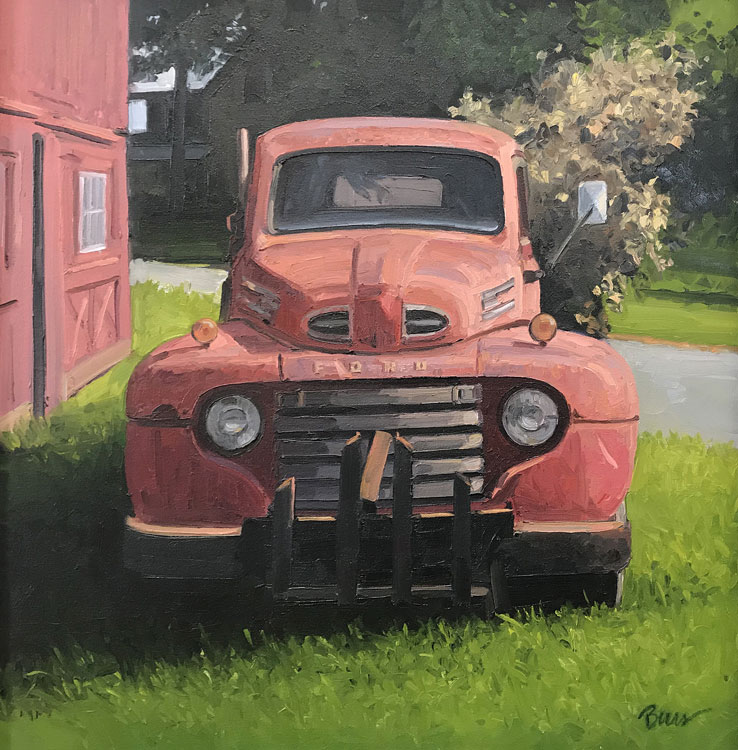 KEVIN BEERS Red Ford, oil on canvas, 24 x 24