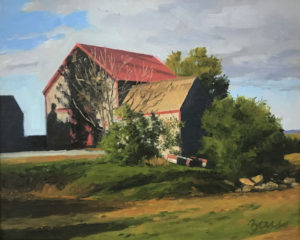 KEVIN BEERS Red Roof oil on canvas, 11 x 14 inches $1800