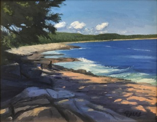 KEVIN BEERS Schoodic Beach, oil on canvas, 11 x 14