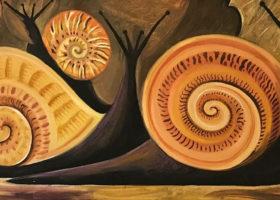 DAHLOV IPCAR Black Snails, oil on canvas, 12 x 24 inches