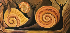 DAHLOV IPCAR Black Snails oil on canvas, 12 x 24 inches $13,000