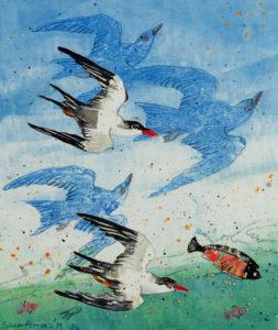 SUSAN AMONS Flock of Tern (L) unframed monoprint, 11 x 9.5 inches $300
