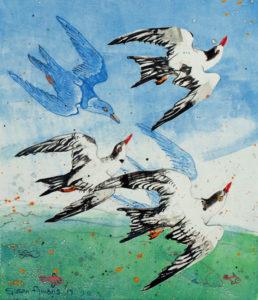 SUSAN AMONS Flock of Terns (R) monoprint, 11 x 9.5 $300