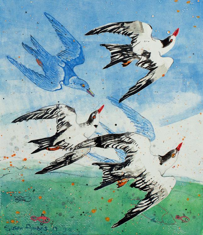 SUSAN AMONS Flock of Terns (R), monoprint, 11 x 9.5