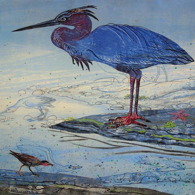 SUSAN AMONS Little Blue Heron with Shorebirds III, monoprint, 20 x 20